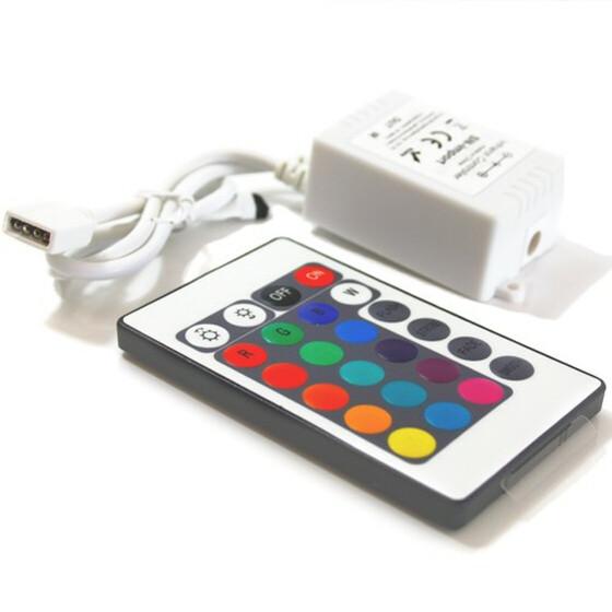 RGB Controller mit 24 Tasten Fernbedienung 1 Ausgang für RGB Leisten