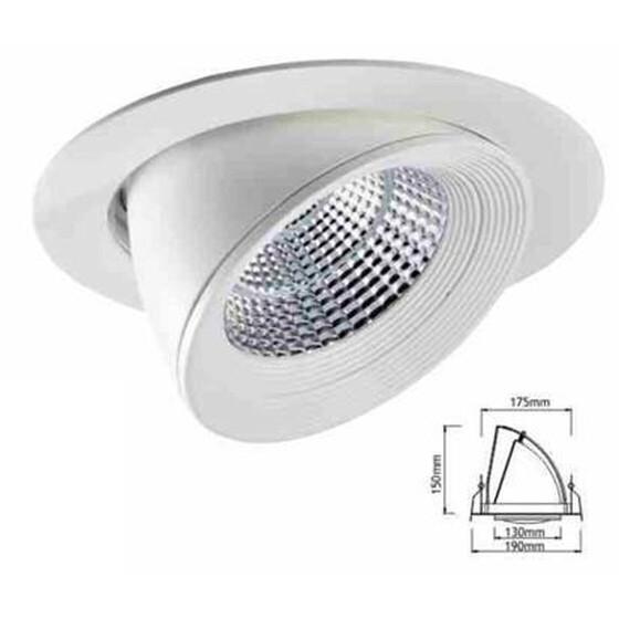 Deckeneinbauleuchte Bohne weiß, Durchmesser 21cm (Deckenausschnitt 18cm) 30W, COB-Chip, 3300lm, Öffnungswinkel 48°, drehbar, horizontal schwenkbar bis 90°