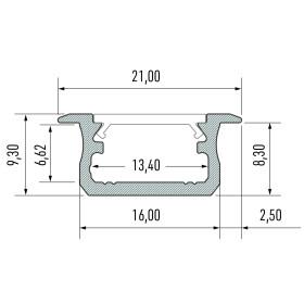 Profil Typ B flach 21 x 9,3 mm Möbelprofil...