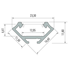 Profil Typ C Eckprofil 16,6 x 16,6 mm Möbelprofil...