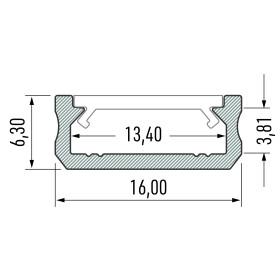 Profil Typ D sehr flach 16 x 6,3 mm Möbelprofil...