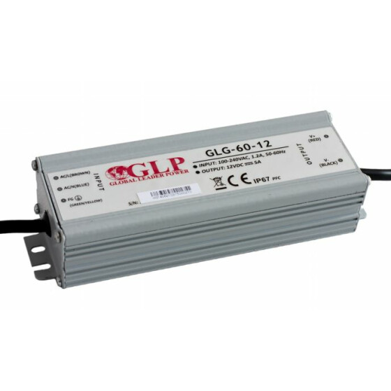 GLP GLG-60 60W 24V 2.5A dimbares Netzteil Metallgehäuse IP67 Konstantstrom mit PFC GLG Serie GLG-60-24
