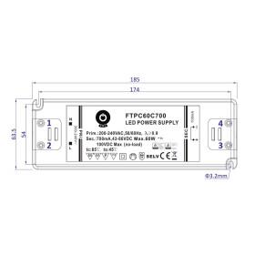 POS Netzteile 700mA 43~86VDC Konstantstrom Kunsstoffgehäuse Serie FTP8