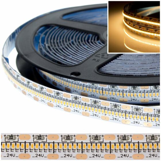 DEMODU® PREMIUM 24V LED Streifen Warmweiß 2700K 5m 600 SMD/m 2110 IP20 dimmbar