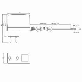 MW-Power EA 1030A 12V 2,5A 30W Netzteil mit Stecker 1,5m Kabel 2,5 / 5,5 Strecker