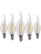 5er Pack E14 2W 2700K Warmweiß Windschief Gebogene Kerzen Leuchte