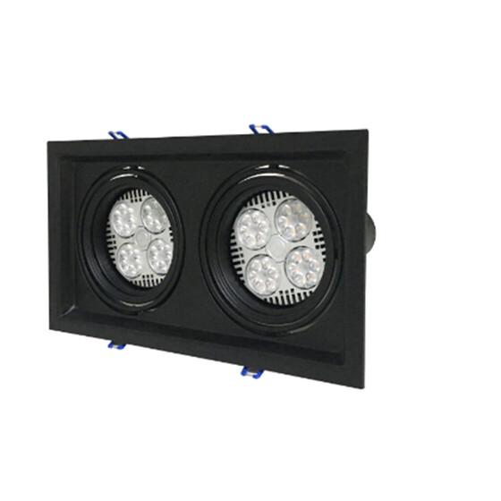 PAR30 Einbaustrahler Doppelflammig Schwarz matt 285x160mm