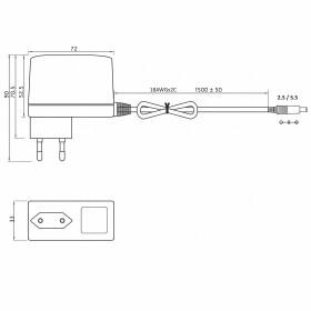 MW-Power EA 1018A 12V 1,5A 30W Netzteil mit Stecker 1,5m Kabel 2,1 / 5,5 Strecker