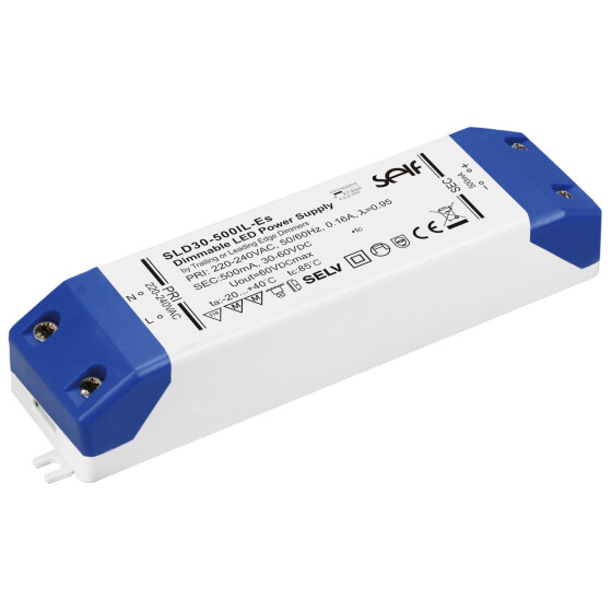 SELF ELECTRONICS LED-Schaltnetzteile Serie SLD30-IL-ES   Plastic Case IP20    Single Output    CC dimmbar    Leistung: 30W
