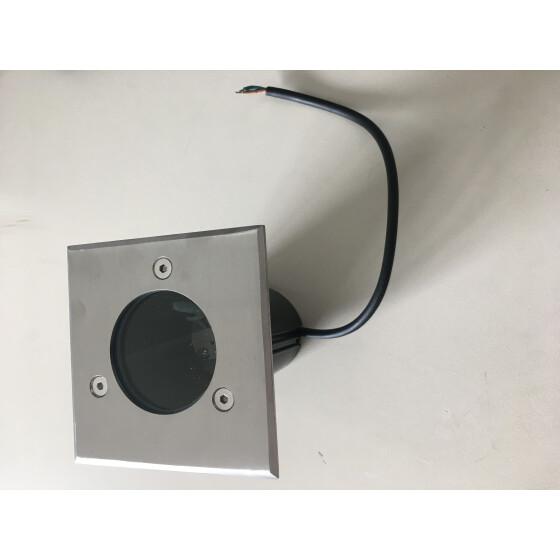 Bodeneinbauleuchte 10x10cm Edelstahl gebürstet - Recessed floor light 10x10cm Brushed stainless steel