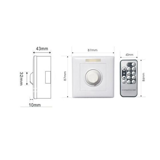 LED Funk Dimmer  AC90-240V 50/60Hz Max Load Power: 800W Max Current: 10A Dimming Range: 1-10V