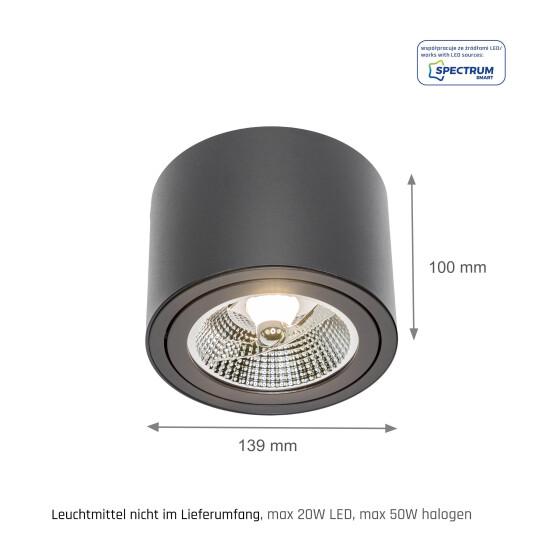 CHLOE AR111 GU10 IP20 round black, adjustable