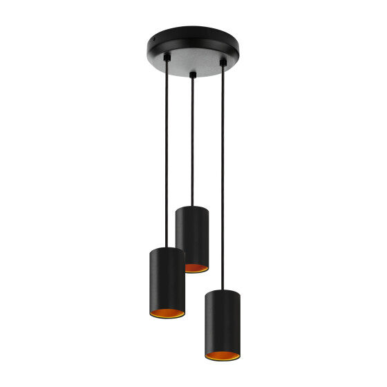 CHLOE GU10 x 3 IP20 pendant lamp black golden round base