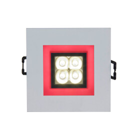 FIALE 4LED 4X1W 30deg 230V SQUARE CW LED SPOT RED FRAME