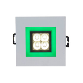 FIALE 4LED 4X1W 30deg 230V SQUARE WW LED SPOT GREEN FRAME