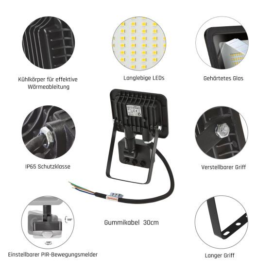 NOCTIS LUX 2 SMD 230V 10W IP44 CW black with sensor