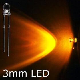 LED gelb 3mm wasserklar inkl. Widerstand hell 20° - 10er-Pack