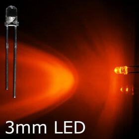 LED orange 3mm wasserklar inkl. Widerstand hell 20° - 10er-Pack