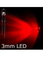 LED rot 3mm wasserklar inkl. Widerstand hell 20°