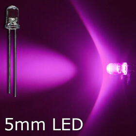LED pink 5mm wasserklar inkl. Widerstand hell 20° - 10er-Pack