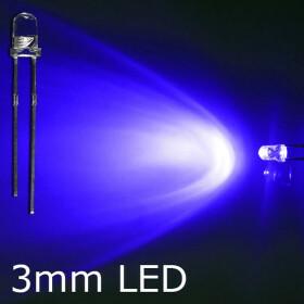 LED blau 3mm wasserklar inkl. Widerstand hell 20° - 10er-Pack