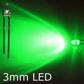 LED grün 3mm wasserklar inkl. Widerstand hell 20°