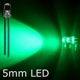LED grün 5mm wasserklar inkl. Widerstand hell 20° - 10er-Pack