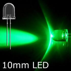LED grün 10mm wasserklar inkl. Widerstand hell 20°