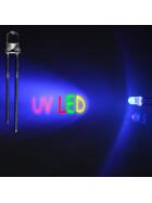 LED UV 3mm wasserklar inkl. Widerstand hell 20° - 10er-Pack