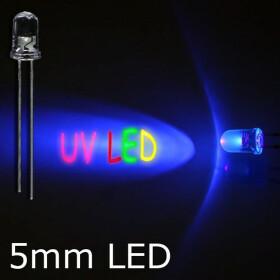 LED UV 5mm wasserklar inkl. Widerstand hell 20° - 10er-Pack
