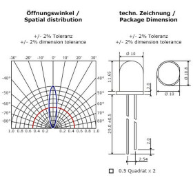 LED UV 10mm wasserklar inkl. Widerstand hell 20°