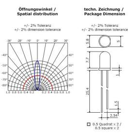 Blink-LED rot 5mm wasserklar inkl. Widerstand hell 20° - 10er-Pack