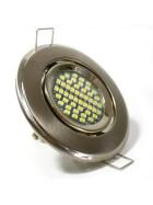 LED Einbaurahmen schwenkbar rund Stahl gebürstet / satiniert