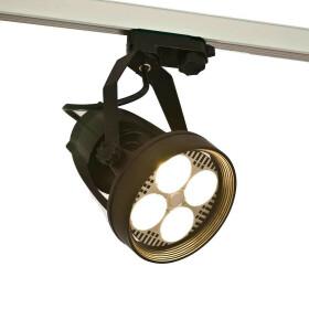 LED Strahler 35W schwarz schwenkbar E27 warmweiß 3300K Stromschienenstrahler Leuchte für Euroschiene Schienenstrahler