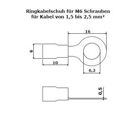 Ringkabelschuhe M6 rot 0,5-1,5mm²