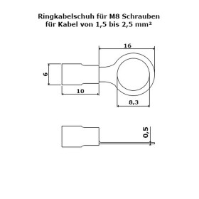 Ringkabelschuhe M8 rot 0,5-1,5mm²